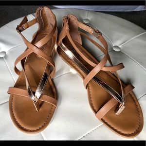 Tan and gold Eurosoft Sandals by Sofft